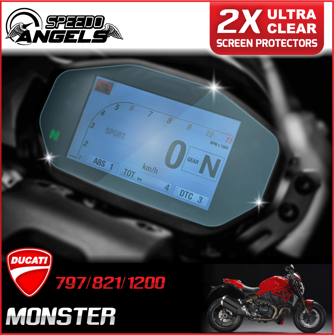 2 x DUCATI STREETFIGHTER 2009 Dashboard Screen Protector Ultra-Clear
