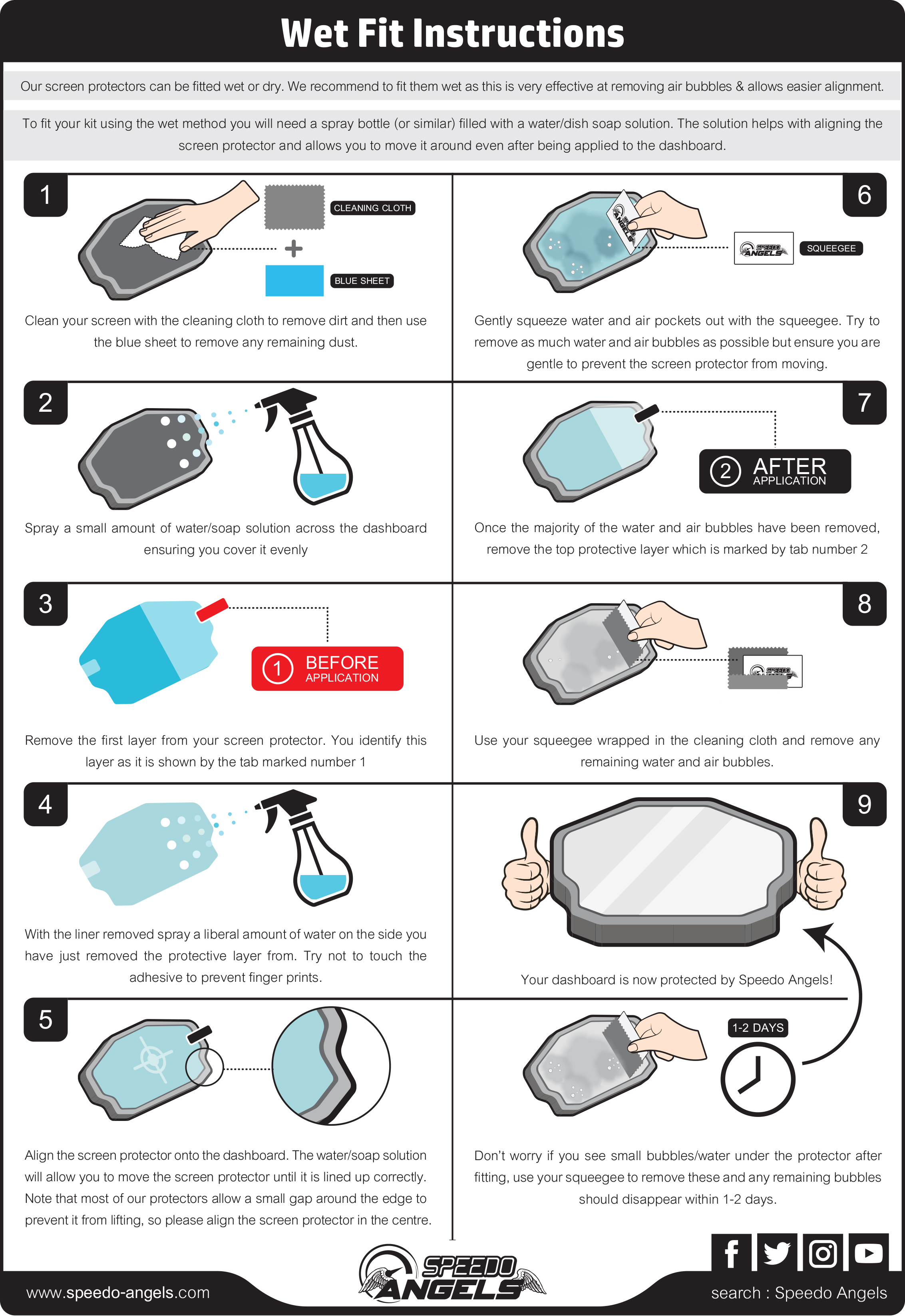 Screen Protector Wet Fit Instructions