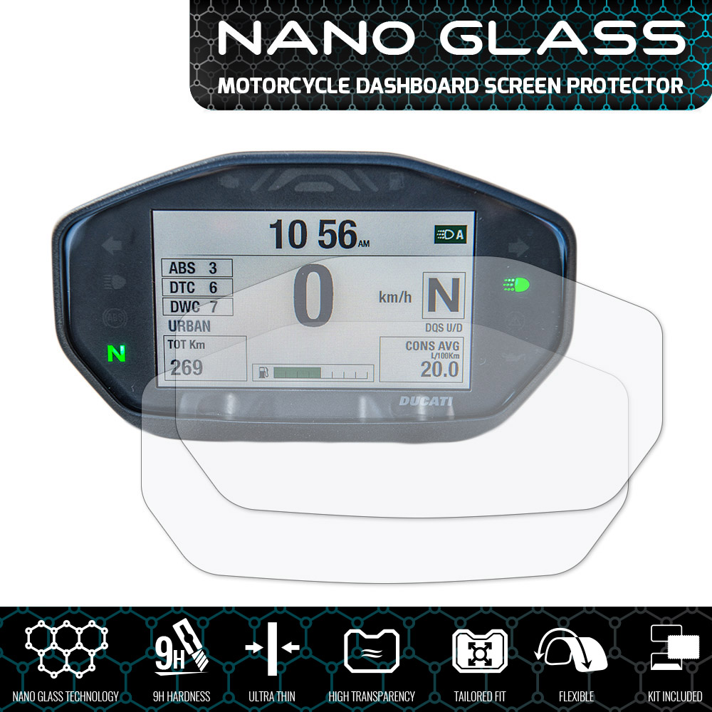 NANO GLASS Screen Protector x 2 Ducati MULTISTRADA 950//1200//1260 2015+